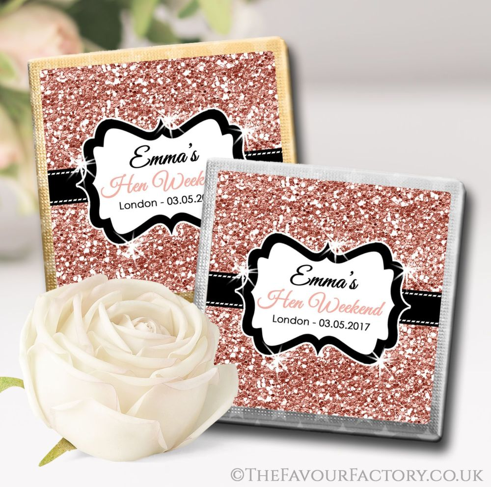 Personalised Hen Party Chocolates Favours Rose Gold Glitter