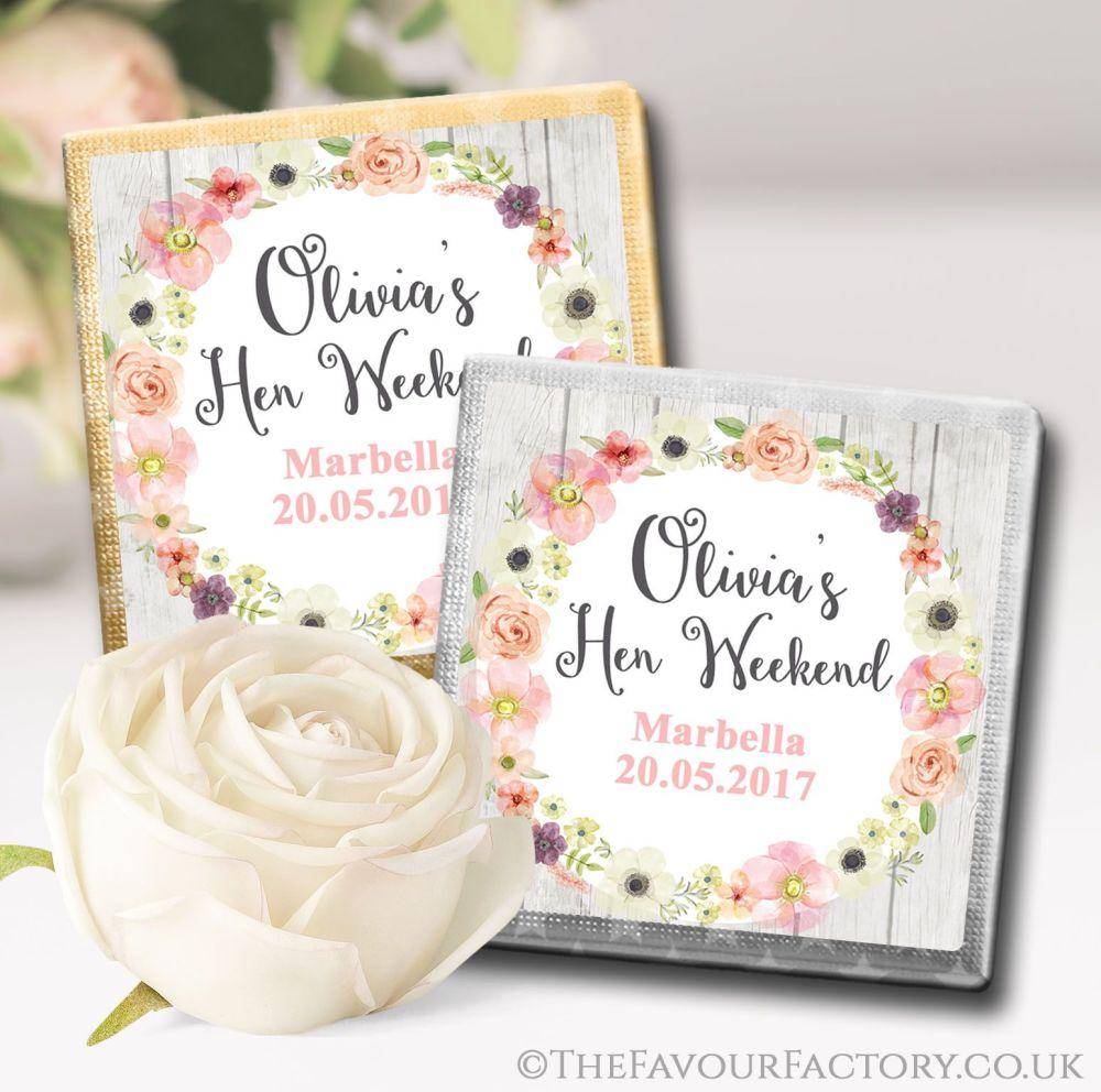 Hen Party Chocolate Squares Blush Watercolour Flowers x10