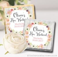 Blush Watercolour Flowers Hen Party Chocolate Squares x10