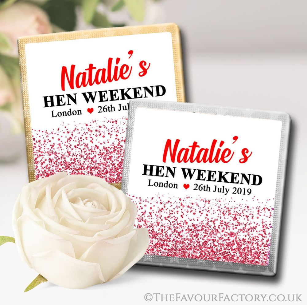 Hen Party Chocolate Squares Red Glitter Confetti x10