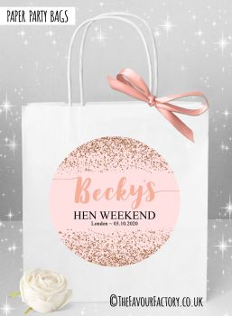 Hen Do Party Bags Rose Gold Scatter Glitter x1