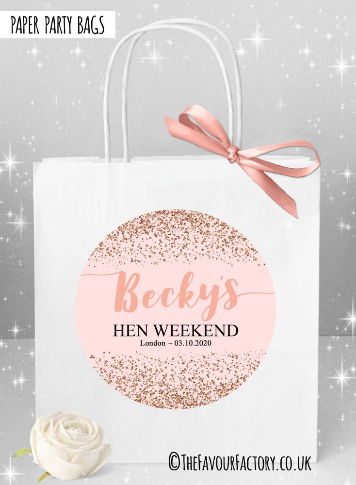 Rose Gold Scatter Glitter Hen Party Bags x1