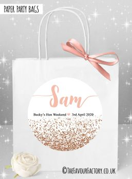 Rose Gold Glitter Confetti Hen Party Bags Named x1