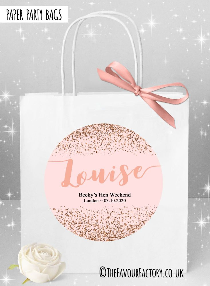 Rose Gold Scatter Glitter Hen Party Bags Named x1
