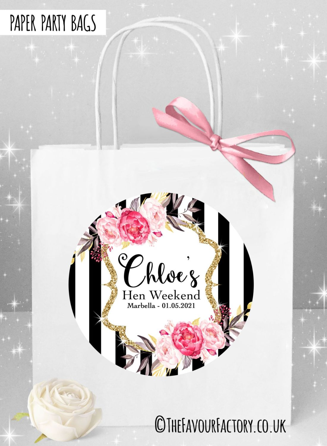 Hen Do Party Bags Named Individually Black Stripe Floral x1