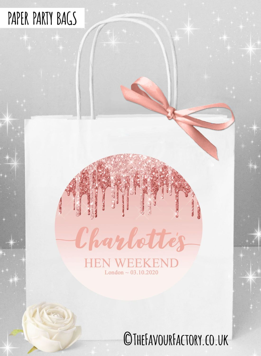 Hen Do Party Bags Named Individually Rose Gold Dripping Glitter x1