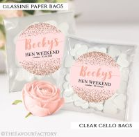Rose Gold Scatter Glitter Hen Party Sweet Bags Kits x12
