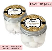 Hen Party Favour Jars Personalised Glitter Gold x1