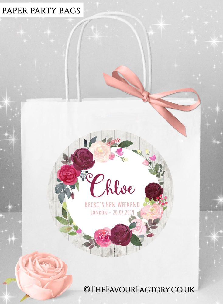 Blush Burgundy Florals Hen Party Bags Named x1