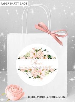 Blush Floral Frame Hen Party Bags Named x1