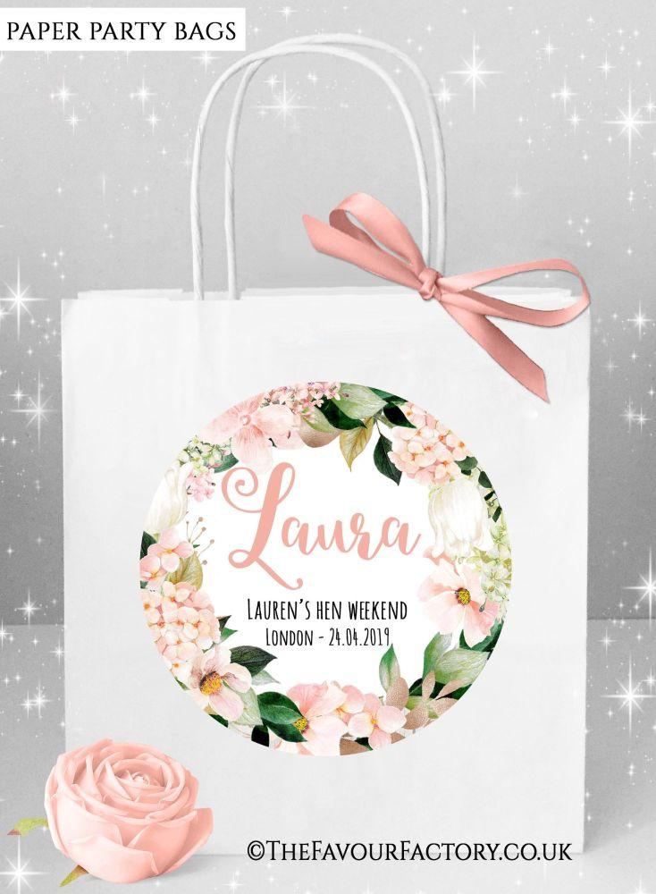 Blush Hydrangeas Hen Party Bags Named x1