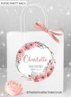 Hen Do Party Bags Named Individually Boho Floral Wreath x1
