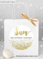 Hen Do Party Bags Named Individually Glitter Confetti Gold x1