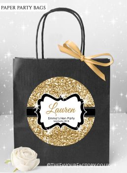 Gold Glitter Hen Party Bags Named x1