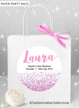 Pink Glitter Confetti Hen Party Bags Named x1