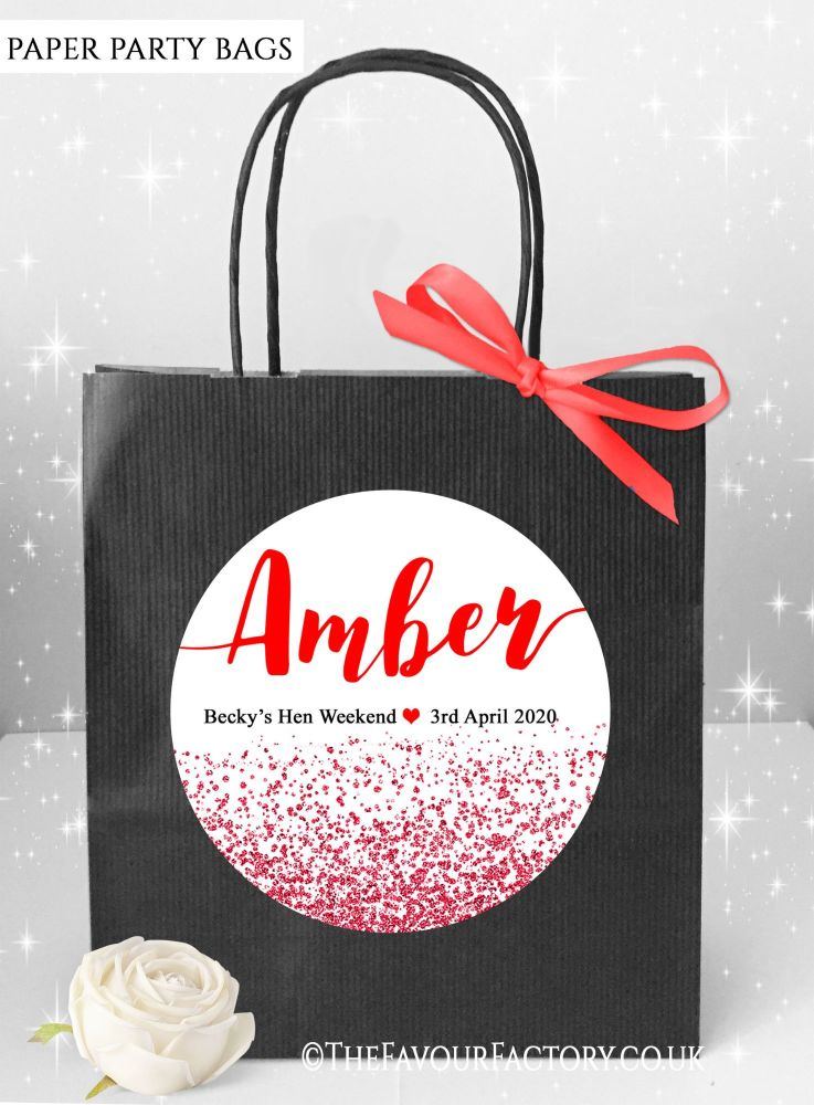 Red Glitter Confetti Hen Party Bags Named x1
