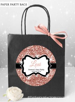 Rose Gold Glitter Hen Party Bags Named x1