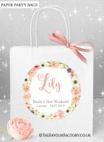 Blush Watercolour Flowers Hen Party Bags Named x1