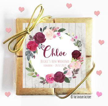 Hen Party Chocolates Quads Favours Blush Burgundy Floral Wreath x1