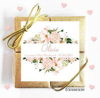Hen Party Chocolates Quads Favours Blush Floral Frame x1