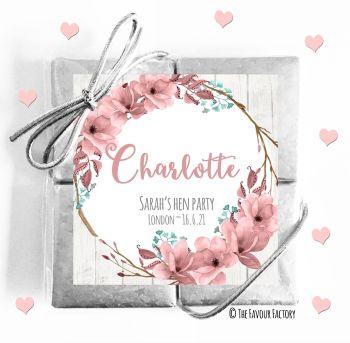 Hen Party Chocolates Quads Favours Boho Floral Wreath x1