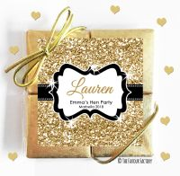 Named Hen Party Chocolate Quads Gold Glitter x1