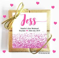 Named Hen Party Chocolate Quads Hot Pink Glitter Confetti x1