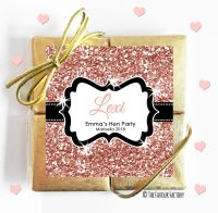 Named Hen Party Chocolate Quads Rose Gold Glitter x1