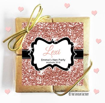 Hen Party Chocolates Quads Favours Glitter Rose Gold x1