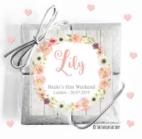 Named Hen Party Chocolate Quads Blush Watercolour Flowers x1