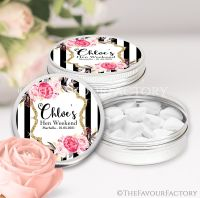 Hen Party Favour Tins Black Stripe Florals x1