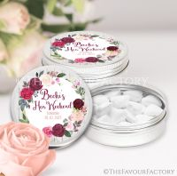 Burgundy Blush Floral Wreath Hen Party Favour Tins x1