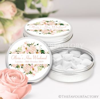 Hen Party Favour Tins Personalised Blush Floral Frame x1