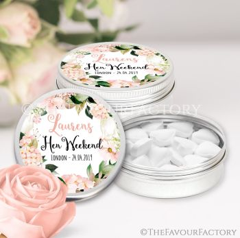 Hen Party Favour Tins Personalised Blush Hydrangeas x1