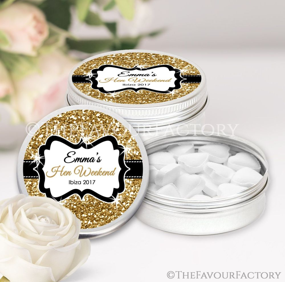 Gold Glitter Hen Party Favour Tins x1