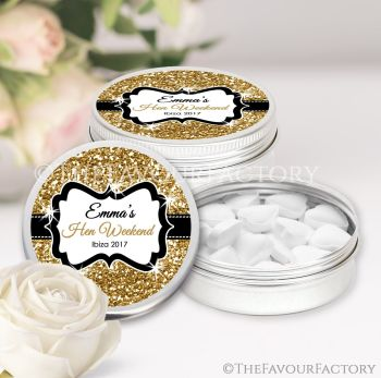 Hen Party Favour Tins Personalised Glitter Gold x1