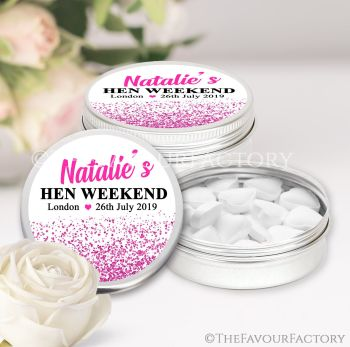 Hen Party Favour Tins Personalised Glitter Confetti Hot Pink x1
