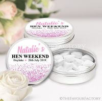 Pink Glitter Confetti Hen Party Favour Tins x1