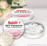 Red Glitter Confetti Hen Party Favour Tins x1