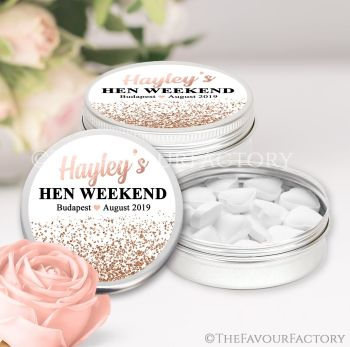Hen Party Favour Tins Personalised Glitter Confetti Rose Gold x1