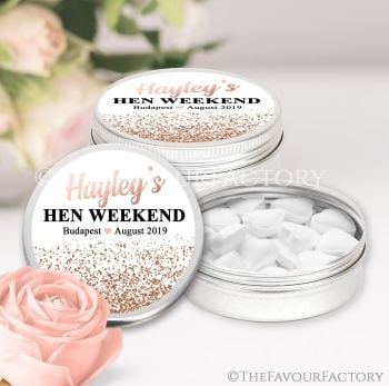 Rose Gold Glitter Confetti Hen Party Favour Tins x1