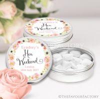 Blush Watercolour Flowers Hen Party Favour Tins x1