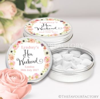 Hen Party Favour Tins Personalised Watercolour Flowers x1
