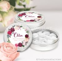 Blush Burgundy Floral Wreath Hen Party Favour Tins Named x1