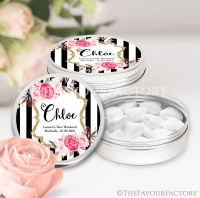 Named Hen Party Favour Tins Black Stripe Florals x1