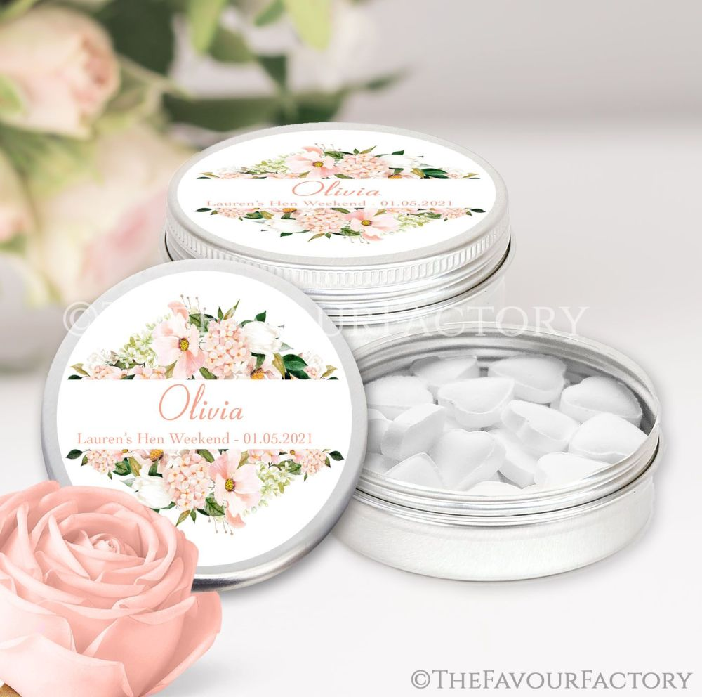 Blush Floral Frame Hen Party Favour Tins Named x1