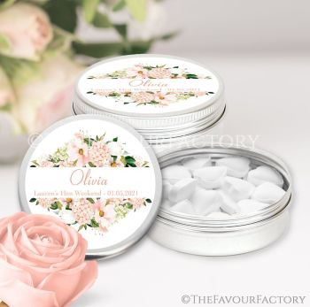 Hen Party Favour Tins Individually Personalised Blush Floral Frame x1