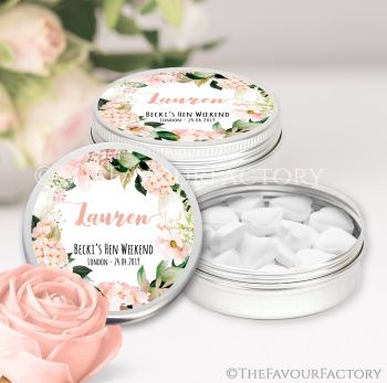 Hen Party Favour Tins Individually Personalised Blush Hydrangeas x1