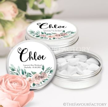 Hen Party Favour Tins Individually Personalised Floral Bouquet x1