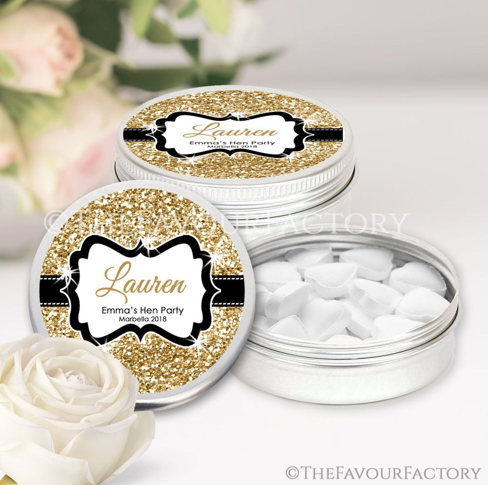Gold Glitter Hen Party Favour Tins Named x1